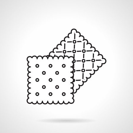 crisp: Black flat line vector icon for two square crisp cookies or cracker on white background.