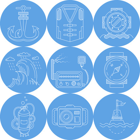 lifejacket: Set of round blue vector icons with white line nautical objects end equipment for diving on white background. Illustration