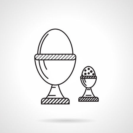 egg cups: Black flat line icon for boiled chicken egg and quail egg in cups for healthy breakfast on white background.