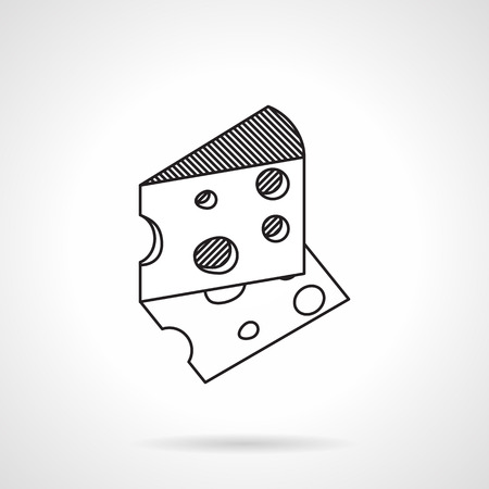 Black flat line icon for triangular piece of cheese on white background.
