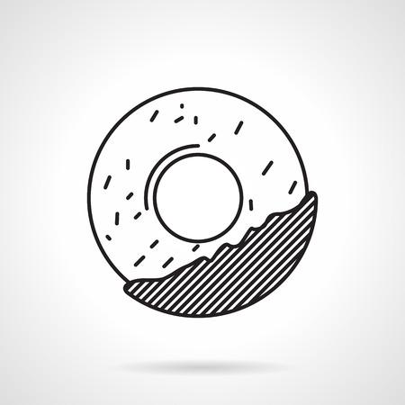 застекленный: Черный плоский значок линия для печенья или окружности бублика с шоколадом или глазурью бегах на белом фоне. Иллюстрация