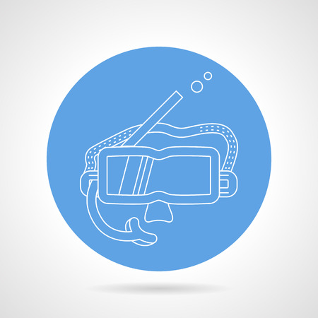 rubber tube: Blue round vector icon with white line snorkeling mask on gray background.