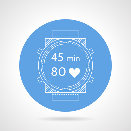 chronology: Blue round vector icon with white silhouette divers watch with time and control of pulse on gray background.