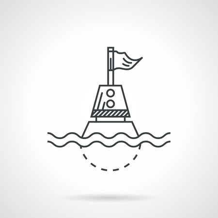 waterway: Flat black line vector icon for nautical direction buoy with flag floating on wave on white background. Illustration