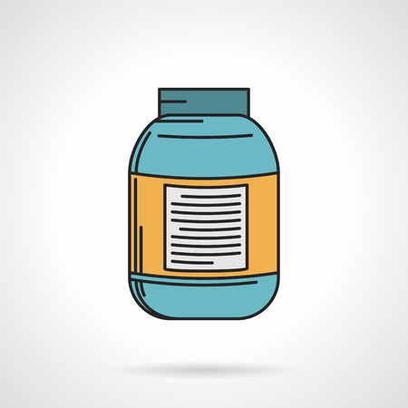 anaerobic: Flat color design vector icon for blue jar of creatine on white background. Sports nutrition for increase strength, muscle mass and short-term anaerobic endurance on workout.