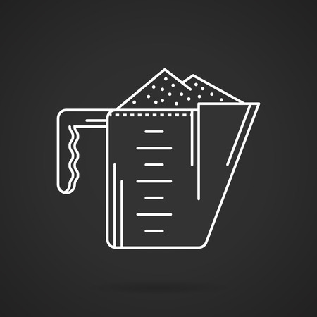 supplements: Flat white line vector icon for measure cup with supplements powder on black background. Illustration