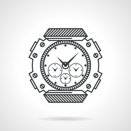 waterproof: Flat black line vector icon for waterproof sports watches for diving on white background. Illustration