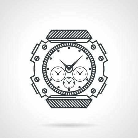cronógrafo: Piso icono vector línea negro para los deportes impermeables relojes de buceo en el fondo blanco.