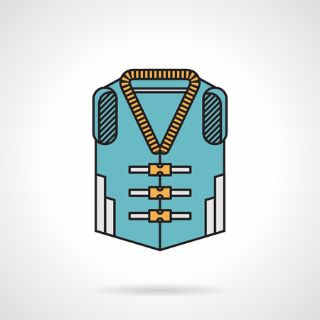 flotation: Flat color design vector icon for blue lifejacket with yellow straps on white background. Illustration