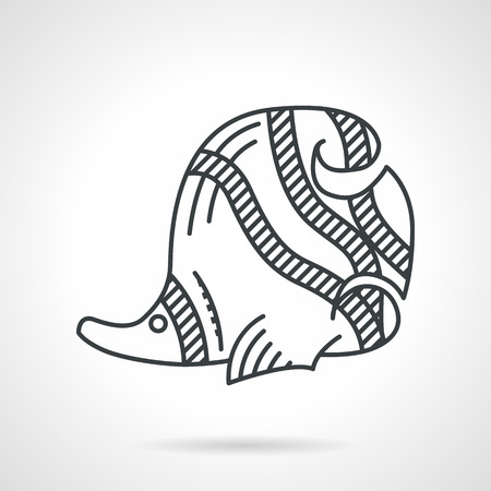 chaetodontidae: Black flat line vector icon for underwater creatures on white background. Striped butterflyfish