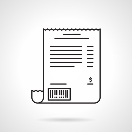 Accountant: Black flat line vector icon for receipt sheet on white background.