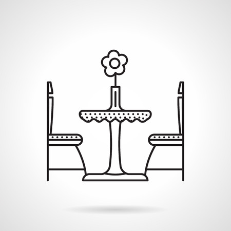 dinner date: Black flat line vector icon for table with flower in vase and two chair for cafe or restaurant interior on white background.