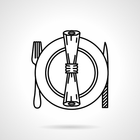 formal place setting: Black flat line vector icon for set of plate, fork, knife and napkin for table serving on white background Illustration