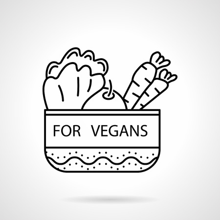 Black flat line vector icon for bowl with vegetables with text For Vegans on white background. Vector