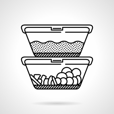 almuerzo: Negro icono plana vector l�nea por dos cajas de almuerzo o recipientes con alimentos en el fondo blanco.