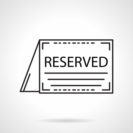 reservation: Black flat line vector icon for reservation table folded card for cafe or restaurant on white background.