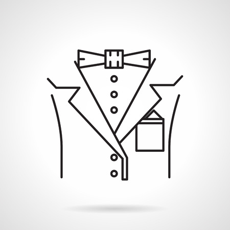 dress code: Black flat line vector icon for fragment official man suit with bow-tie on white background. Illustration