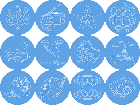 perl: Set of round blue vector icons with white line elements of sea leisure and underwater creatures on white background.