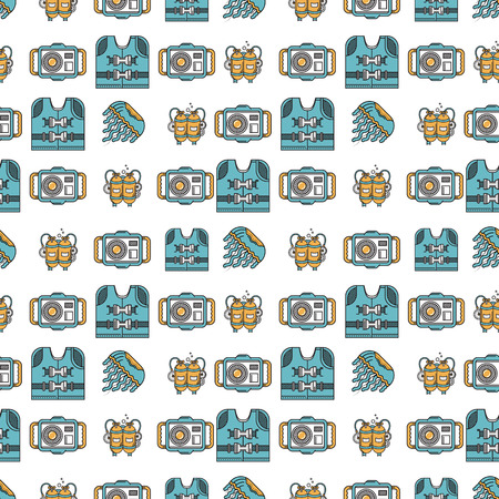 life jacket: Seamless flat color design vector pattern with life jacket, camera, aqualung and jellyfish on white background.