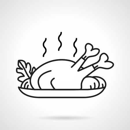 Black line vector icon for dish with baked poultry with vegetables on white background. Illustration