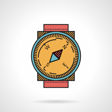 dial compass: Flat color design vector icon for compass with yellow dial and red strap on white background.