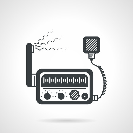 Flat black vector icon for VHF radio transceiver on white background.
