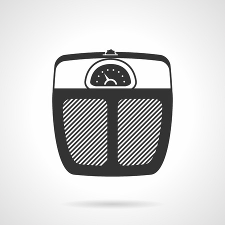 weight control: Flat black vector icon for analogue floor scales for weight control on white background.