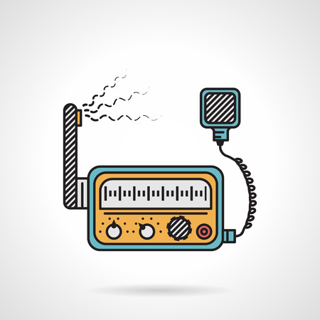 Flat color design vector icon for radio transceiver VHF on white background.