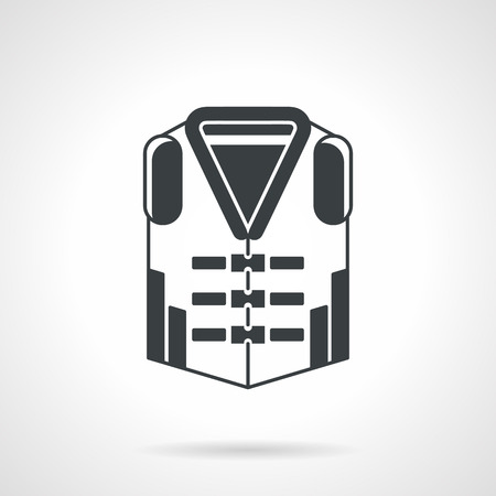 waistcoat: Flat black vector icon for protection waistcoat for sport on white background.