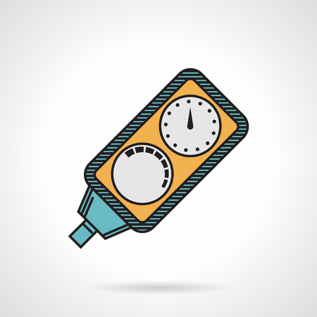 under pressure: Flat color design vector icon for diving console for control of pressure and time on white background. Illustration