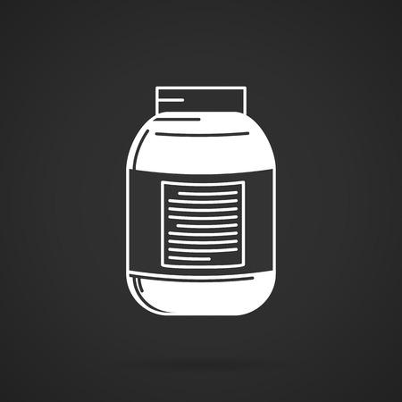 casein: Blanco icono del dise�o del vector del contorno por un precio frasco con etiqueta para los suplementos nutricionales o deportivos en el fondo negro.