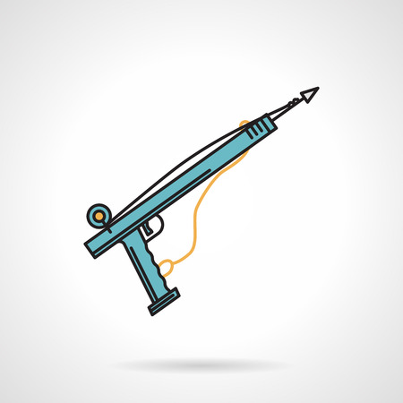 spearfishing: Flat color design vector icon for blue speargun for underwater hunting on white background.