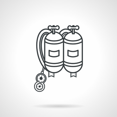 aqualung: Flat black line design vector icon for aqualung with two tanks for scuba diving on white background.