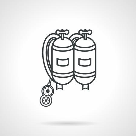 aqualung: Piatto nero linea disegno vettoriale icona respiratore con due vasche per le immersioni su sfondo bianco.