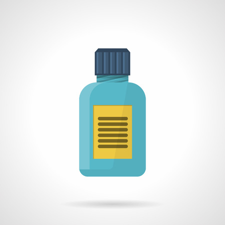 nutritional: Flat color style vector icon for blue jar with yellow label for nutritional or sports supplements on white background.