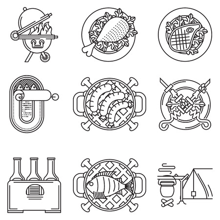 Set of black flat line vector icons for barbecue or picnic menu for outdoor rest on white background. Vector