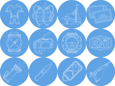 oxygen transport: Set of blue circle vector icons with white line equipment and accessory for diving sport on white background. Illustration