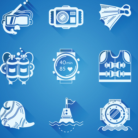 chronograph: Set of white silhouette vector icons for objects and accessory for diving on blue background.