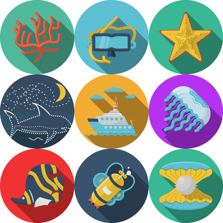 Set of flat color design vector icons for sea adventures on white background. Vector
