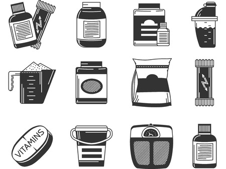 supplements: Set of black contour vector icons for sports supplements jars and packs on white background. Illustration