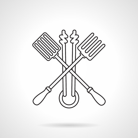 tongs: Black flat line vector icon for crossed barbecue tools fork, scapula and tongs on white background.