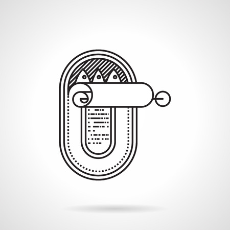 Black flat line vector icon for tin fish can with ring pull on white background. Illustration