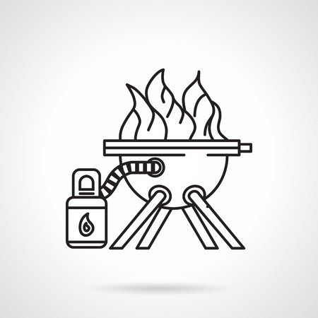 gas barbecue: Black flat line vector icon for barbecue with fire and can with ignition or fuel gas on white background.