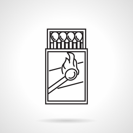 box of matches: Black flat line vector icon for open box with matches on white background. Illustration