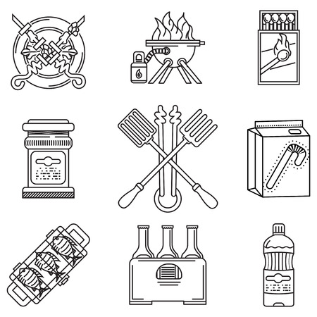 Set of black flat line vector icons for barbecue or picnic  outdoor rest on white background. Vector