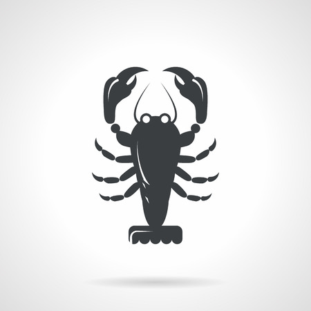 crawfish: Single black silhouette icon for lobster on white background. Seafood menu Illustration