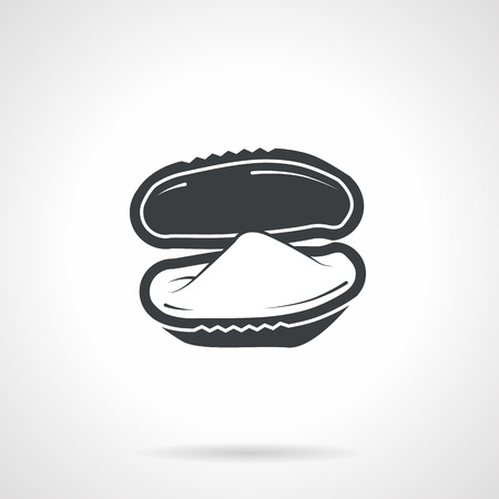 bivalve: Single black silhouette icon for bivalve oyster on white background. Seafood menu
