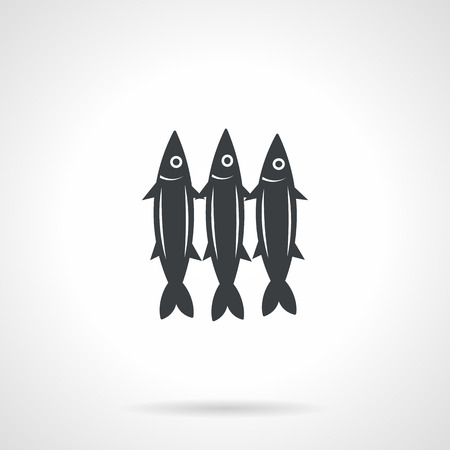 pilchard: Single black silhouette icon for three sardines on white background. Seafood menu
