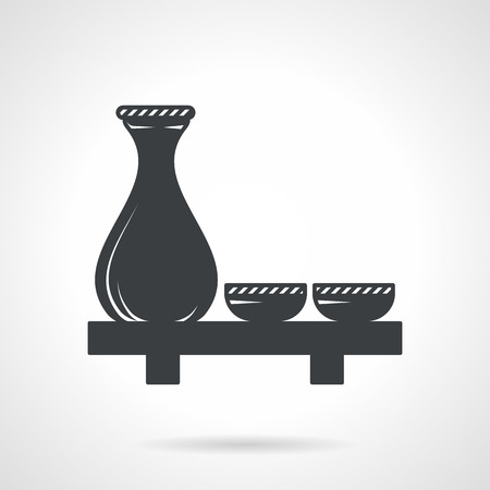 Single black silhouette icon for sake set with jug and two cups on the table on white background. Ilustração