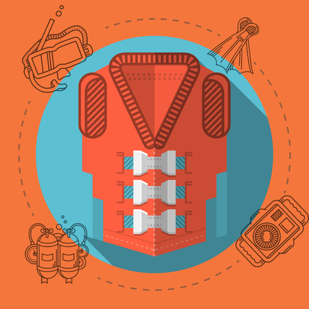 safety harness: Flat color design vector illustration with round blue icon for red life jacket and gray diving accessory around on red background. Long shadow design.